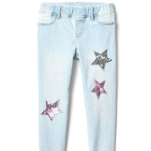 Gap girls skinny jeans with sequined star patches